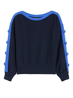 Petite Button-Sleeve Cropped Sweater