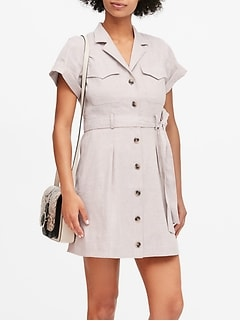 Linen-Cotton Utility Dress