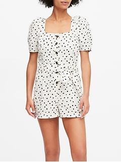 Petite Linen-Cotton Puff-Sleeve Romper