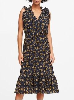 Petite Floral Ruffle Midi Dress