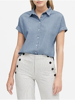 Chambray Roll-Cuff Shirt