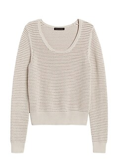 Petite Pointelle Cropped Sweater