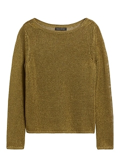 Petite Linen-Blend Boat-Neck Sweater