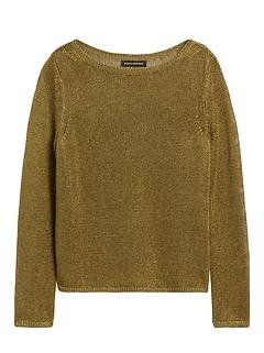 Petite Linen-Blend Boat-Neck Sweater
