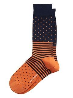 Dot Stripe Block Sock