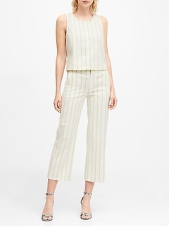 Slim Wide-Leg Stripe Cropped Pant