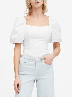 Puff-Sleeve Cropped Top