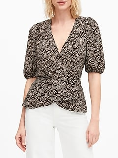 Print Puff-Sleeve Wrap-Effect Top