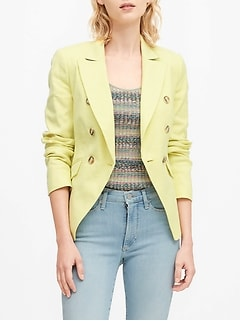 Double-Breasted Linen-Cotton Blazer