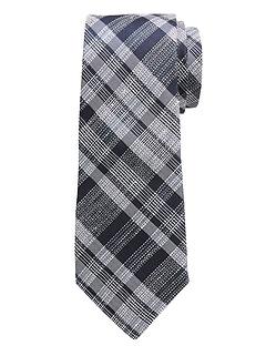 Cravate en soie et en lin à carreaux