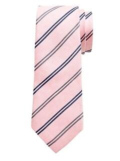 Cravate à rayures doubles en soie et en lin