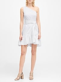 One-Shoulder Poplin Mini Dress