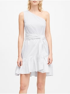 Petite One-Shoulder Poplin Mini Dress