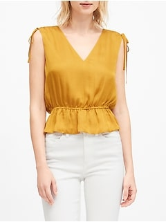 Satin Ruched Cropped Peplum Top