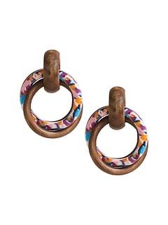 Wood & Acrylic Hoop Earrings
