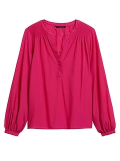 Petite Cotton Balloon-Sleeve Top