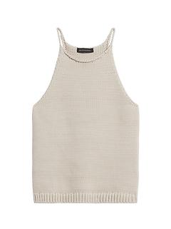 Petite Halter-Neck Sweater Tank