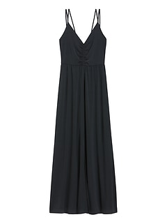 Petite Strappy Ruched Maxi Dress