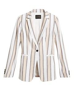 Long & Lean-Fit Linen-Blend Blazer