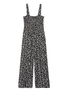 Smocked Knit Cropped Jumpsuit