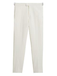 Pantalon habillé fuselé en coton et en lin, coupe étroite