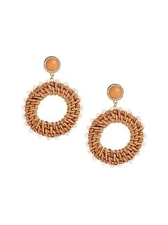 Two Tone Raffia Earrings