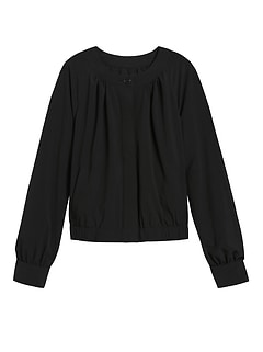 Petite Performance Stretch Cropped Bomber Jacket
