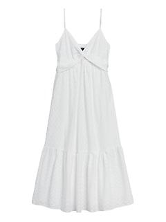 Petite Textured Cotton Twist-Front Maxi Dress
