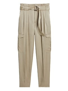 High-Rise Tapered Satin Cargo Pant