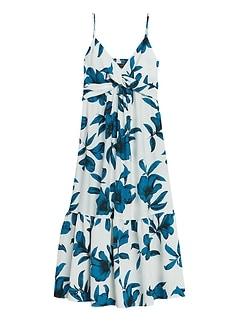 Floral Twist-Front Maxi Dress