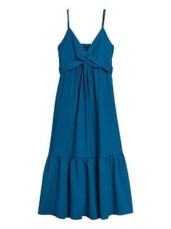 Petite Twist-Front Midi  Dress