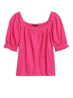 Linen Puff-Sleeve Top