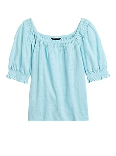 Linen Puff-Sleeve Top