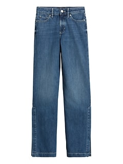 Petite High-Rise Wide-Leg Jean with Split Hem