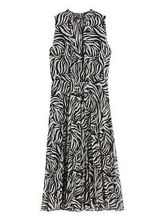 Zebra Pleated Midi Dress