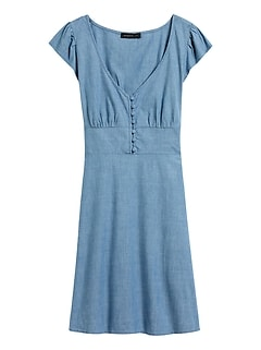 Chambray Button-Front Mini Dress