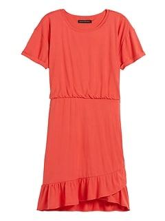 Flounce-Hem T-Shirt Dress