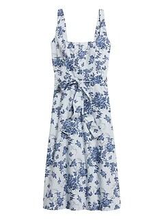 Petite Poplin Square-Neck Dress