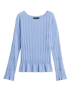 Bell-Sleeve Cropped Sweater Top