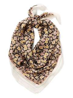 Sheer Floral Square Scarf