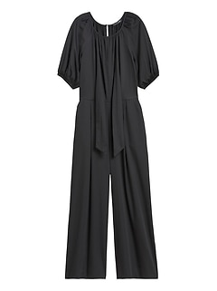 Poplin Puff-Sleeve Jumpsuit