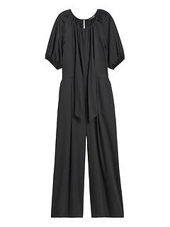 Petite Poplin Puff-Sleeve Jumpsuit