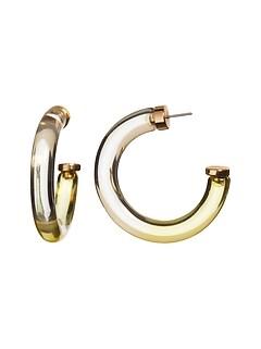 Yellow Resin Hoop Earrings