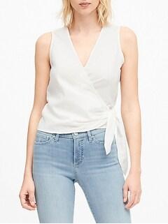 Linen-Cotton Wrap Top