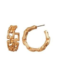 Bamboo Chain Hoop Earrings