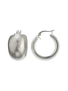 Wide Silver Hoop Earrings