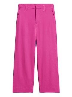 Slim Wide-Leg Linen-Cotton Cropped Pant