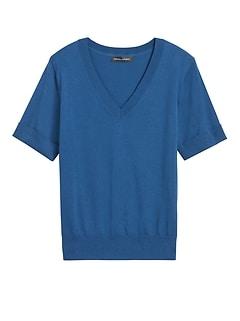 Petite Stretch-Cotton Short-Sleeve Sweater