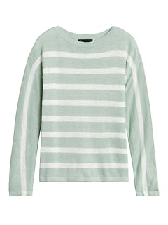 Linen-Blend Stripe Sweater