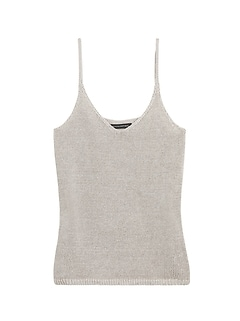 Linen-Blend Cropped Sweater Tank